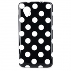 Polka Dot Pattern Protective Silicone Back Case for Google Nexus 5 - White + Black