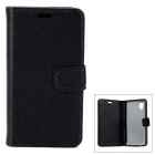 Lychee Pattern Protective PU Flip-Open Case for Google Nexus 5 - Black