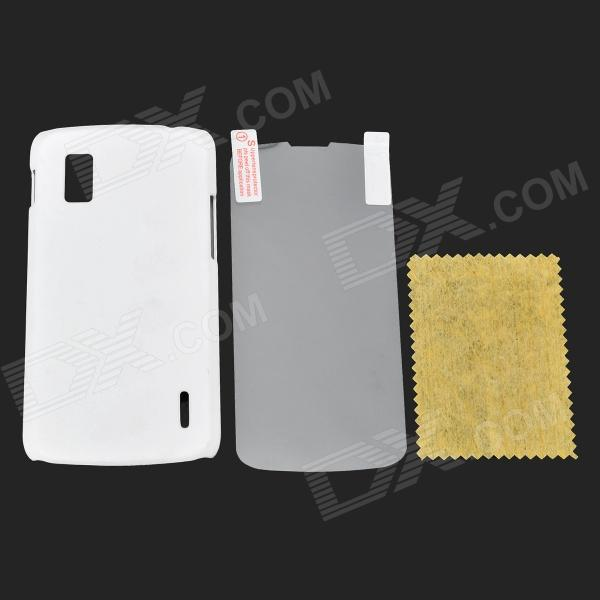 Protective ABS Back Case + Screen Guard Set for LG Nexus 4 / E960 - White protective silicone back case for lg nexus 5 translucent white