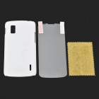 Protective ABS Back Case + Screen Guard Set for LG Nexus 4 / E960 - White