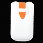 Stylish Protective PU Leather Pouch Bag for Samsung S4 / i9300 - White + Orange
