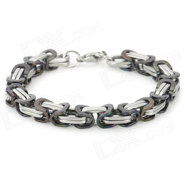SHIYING SL00014 Stylish 316L Stainless Steel Bracelet - Silver + Black shiying men s fashion 316l stainless steel split leather bracelet black silver