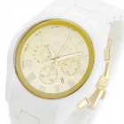 MCE 01-0040252 Fashion Artificial Ceramic Quartz Wrist Watch w/ Calendar - White (1 x 377A)