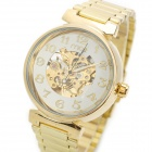MCE 01-0060047 12 Stainless Steel Band Automatic Mechanical Wrist Watch - Golden