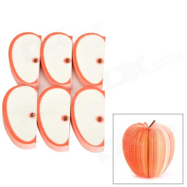 K872 Novel Fun Apple Piece Style Memo Pad / Note Pad - Red + White (140 Sheets) (6 PCS)
