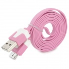 08 USB 2.0 to Micro USB 9-pin Flat Charging/Data Cable for Samsung Note 3 - Pink + White (95cm)