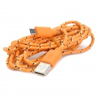 USB 2.0 to Micro USB Data/Charging Woven Cable for Samsung Galaxy Tab 3 P5200 / P5210 - Orange (2M)