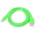 USB 2.0 to Micro USB Woven Data Cable for Nexus 7 - Green (100cm)