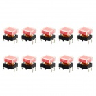Jtron 12 x 12mm Square Touch Button Switch - Red + Black (10 PCS)