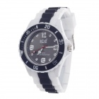 ICE 3ATM Rubber Band Dial Pointer Men's Quartz Analog Wrist Watch - White + Black (1 x LR626)