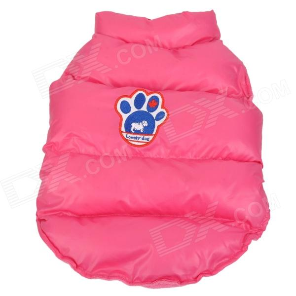 AX-02 Footprints Pattern Thicken Down Jacket Clothes for Dog - Deep Pink + Blue (Size M)
