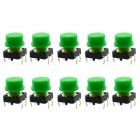 Jtron 12 x 12mm OFF- (ON) Bouton de commutation tactile à 4 broches avec touches rondes - Noir + Vert (10 PCS)