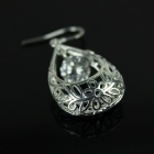 Hollow out 925 Silver + Rhinestone Women's Earrings - Silver (Pair)