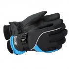 KINEED N1302 Universal Fashionable Men's Thicken Warm Skiing Gloves - Black + Blue (Pair / Size-L)