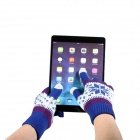Snowflake Design Touch Gloves for Iphone Ipad Ipod - Blue (Pair / Free Size)