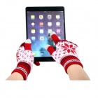 Snowflake Design Touch Gloves for Iphone Ipad Ipod - Red (Pair / Free Size)