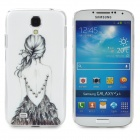 BY-01 Girl Pattern Protective PVC Back Case for Samsung S4 i9500 - White + Black + Multi-Colored