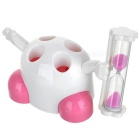 Cute Toothbrush Holder with Timer Hour Glass Green