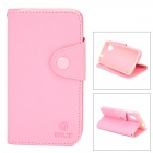 Stylish Flip-Open PU Leather + TPU Case w/ Stand for LG Nexus 5 - Pink