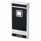 901 Touch Key Windproof Butane Jet Lighter - Black + Silver