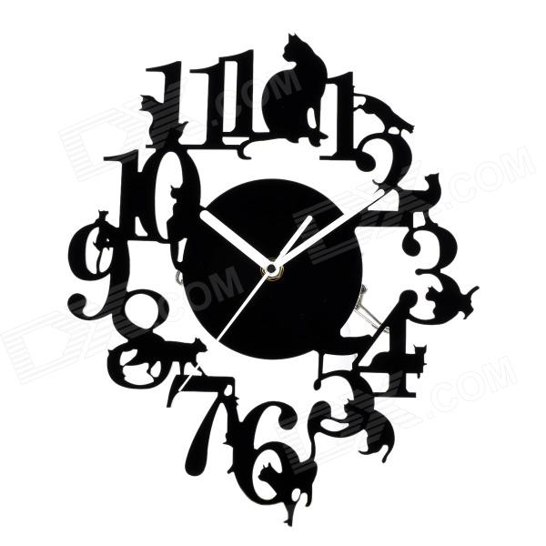 YKL016 Creative Cats Climbing Tree Style Acylic Wall Clock - Black (1 x AA)