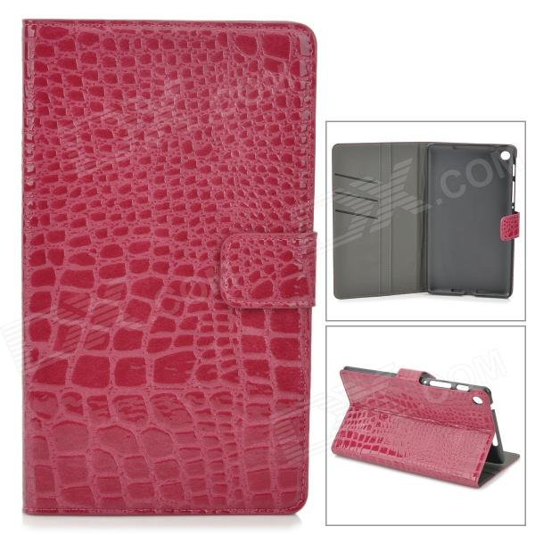 Crocodile Grain Style Protective PU Leather Case for Google Nexus 7 II - Purple Red lychee grain style protective pu leather case w card holder slots for google nexus 5 white