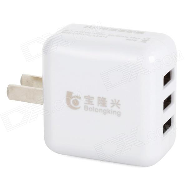 Bolongking Convenient Universal Portable US Plugss 3 USB Output Power Adapter - White (100~240V)