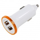 Convenient Universal 5V 2.1A / 1A Dual USB Output Car Charger - White + Silvery Grey