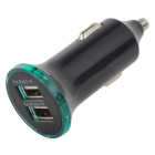 Convenient Universal 5V 2.1A / 1A Dual USB Output Car Charger - Black + Silver