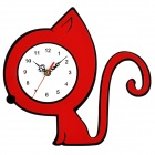YKL013 Pensive Cat Style Acrylic Wall Clock - Red + White