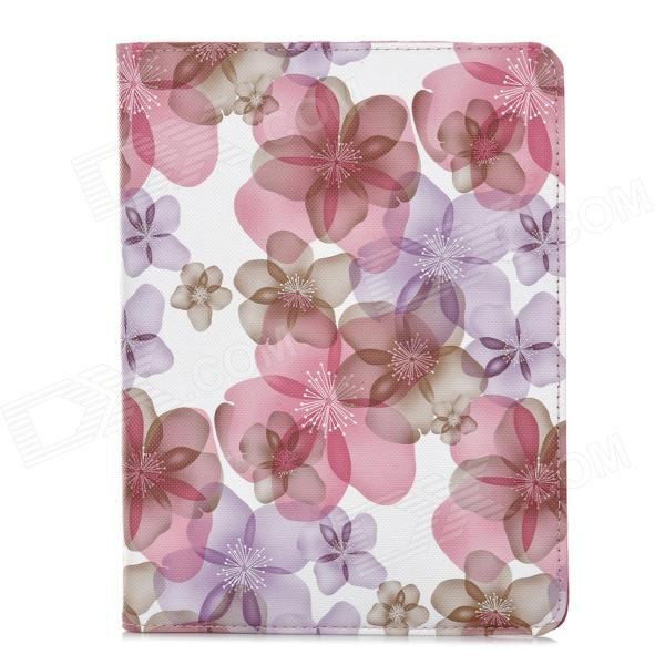 Stylish Flower Pattern Flip-open PU Leather Case w/ Holder + 360' Rotating Back for Ipad 2 / 3 / 4 funny moustaches pattern pu leather flip open case w stand for ipad 2 the new ipad ipad 4