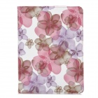 Stylish Flower Pattern Flip-open PU Leather Case w/ Holder + 360' Rotating Back for Ipad 2 / 3 / 4