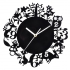 YKL019 Forest Animals Style Acrylic Wall Clock - Black (1 x AA)