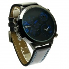 Oulm HP9423 Fashionable Men's Personality Big Dial Men's Quartz Wrist Watch - Black + Blue (1 x 10)