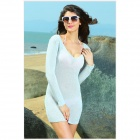 27503-1 Offwhite Open-stitch Cover-up Sweater - White