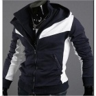 Stylish Men's Slim Hooded Contrast Color Sweater - White + Navy (Size-XL)