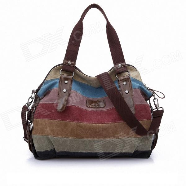 K-998 Fashionable Contrast Color Canvas Bag - Multicolored
