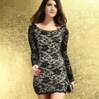 DEAR-LOVER LC2783 Thrilling Beaded Lace Dress - Black Grey