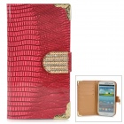Stylish Protective Rhinestone PU Leather Case for Samsung Galaxy S3 i9300 - Deep Pink