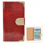 Stylish Protective Rhinestone PU Leather Case for Samsung Galaxy S3 i9300 - Red