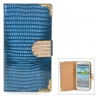 Stylish Protective Rhinestone PU Leather Case for Samsung Galaxy S3 i9300 - Blue
