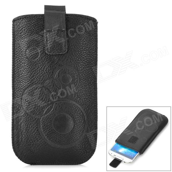 Stylish Protective PU Leather Pouch Bag for Samsung S4 / i9300 - Black