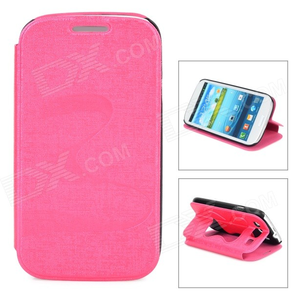 Butterfly Pattern PU Leather Flip-Open Case w/ Stand for Samsung i9300 - Deep Pink butterfly bling diamond case