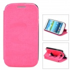 Butterfly Pattern PU Leather Flip-Open Case w/ Stand for Samsung i9300 - Deep Pink