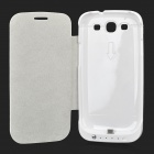 External 2200mAh Back Battery Case w/ PU Cover for Samsung i9300 - White