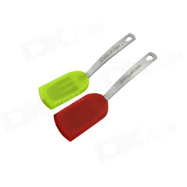 GROUP TIGER Food Grade 100% Silicone Scraper Small Spatula Kitchen Cake Tool - Red + Green (2 PCS) 1kg stevioside food grade natural