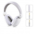 YONGLE High Quality On-ear Headphones w/ Microphone - White (3.5mm Plug / 120cm-Cable)