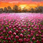 Iarts DX(0102-03) Red Flower Landscape under the Sunset Oil Painting - Multicolored