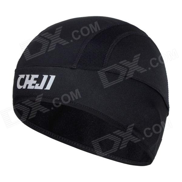 CHEJI Cycling Windproof Fleece Warm Hat Cap - Black