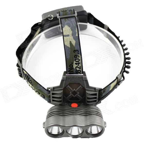SiPiDS S330 3-LED 190lm 1-Mode White/Yellow/Blue Headlight - Camouflage (2 x 18650)